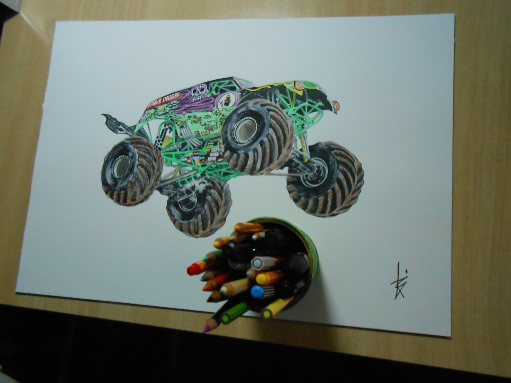 1024x768 Drawing Monster Jam Grave Digger By Dibujarteriestra