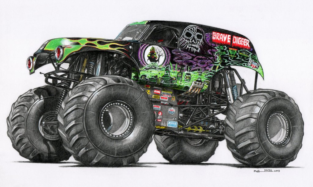 1024x614 Drawn Truck Grave Digger Monster Truck
