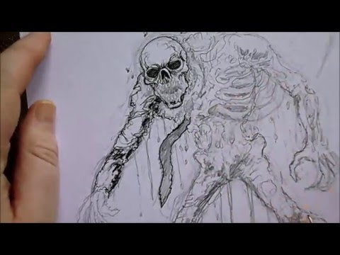 480x360 Drawing An Undead Skeleton Rising From The Grave