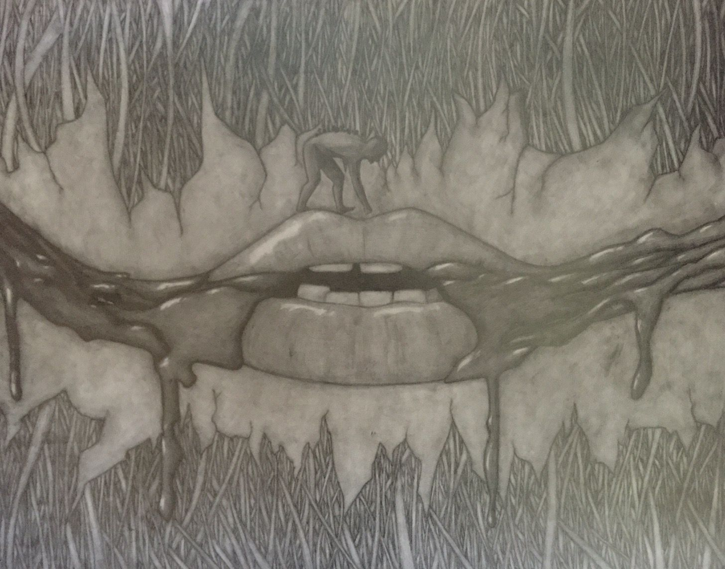 1456x1144 Human's Death Trap (Mouth Blood Design Skin And Grave Graphite