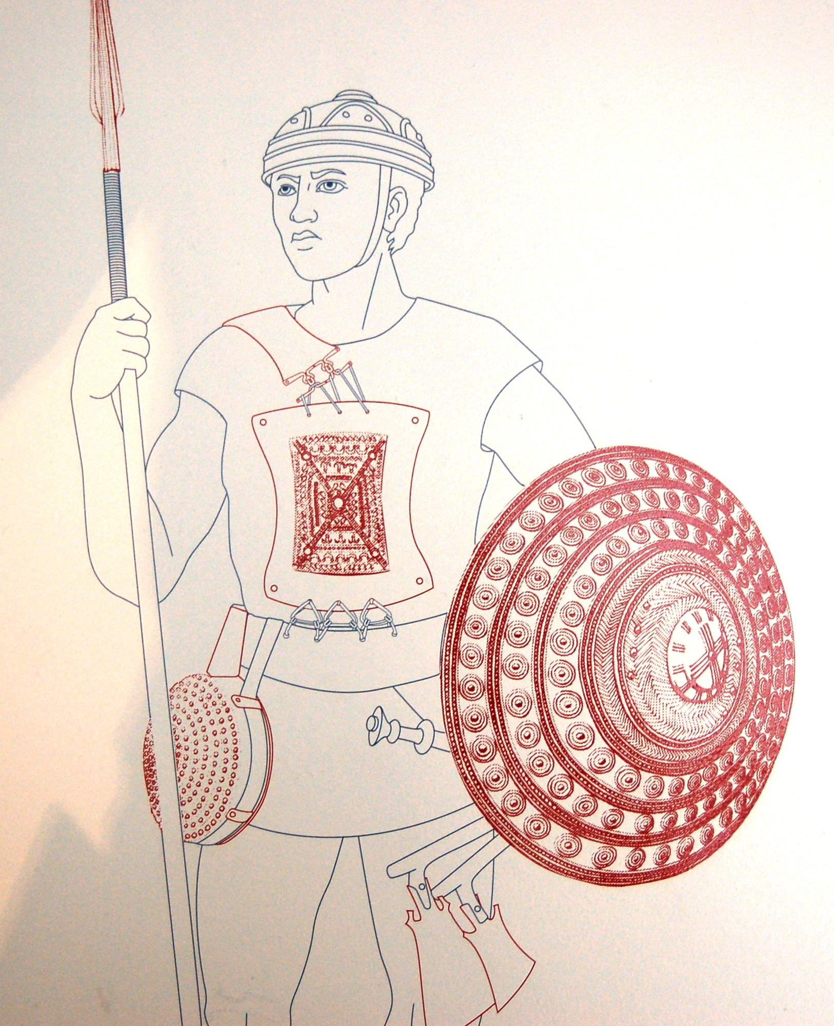 1626x2000 Modern Drawing Of An Etruscan Warrior's Military Gear From A Grave