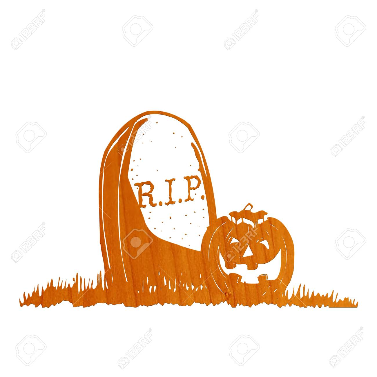 1300x1300 Pumpkin In Grave Drawing Stock Photo, Picture And Royalty Free