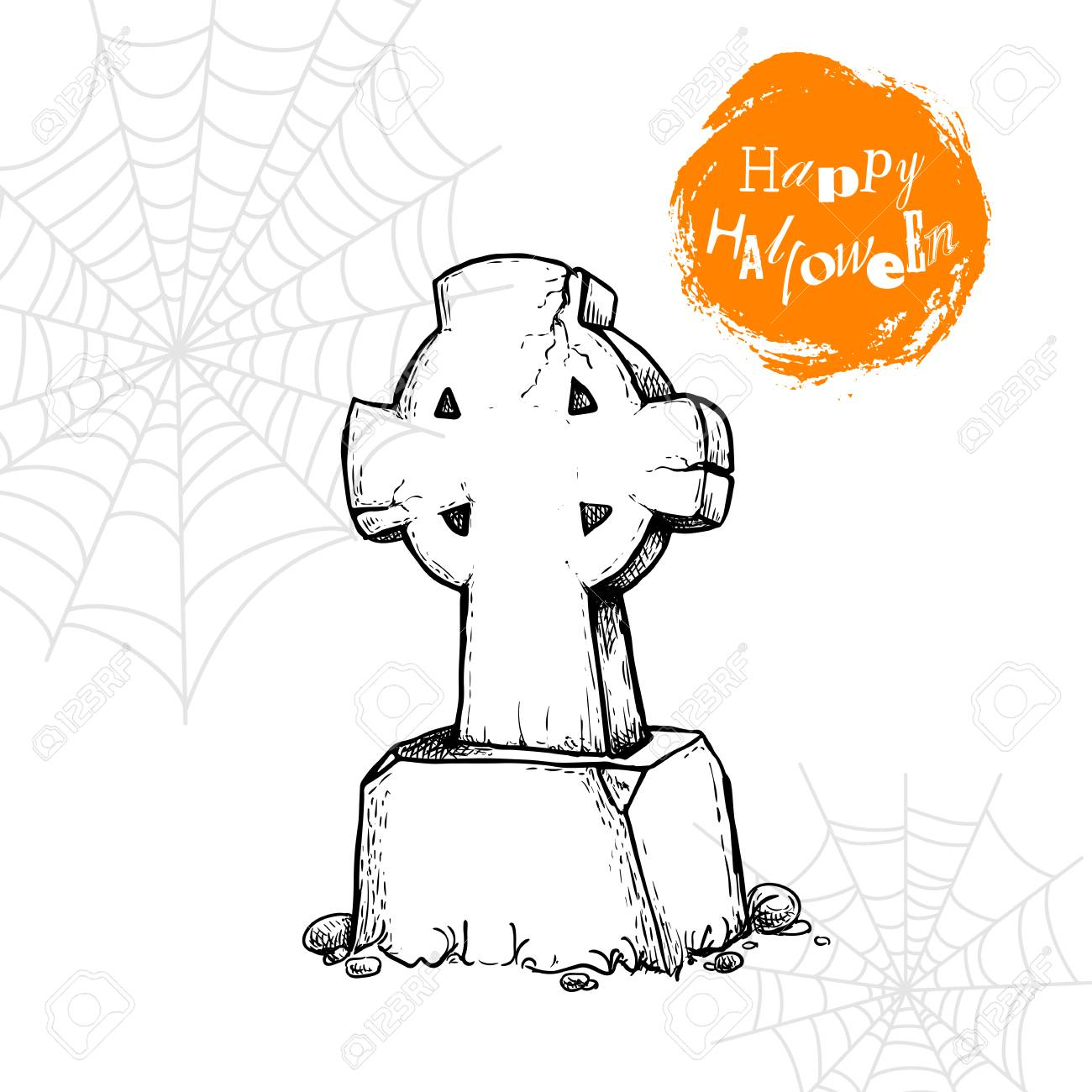 1300x1300 Hand Drawn Christian Cross Tombstone. Halloween Party Poster