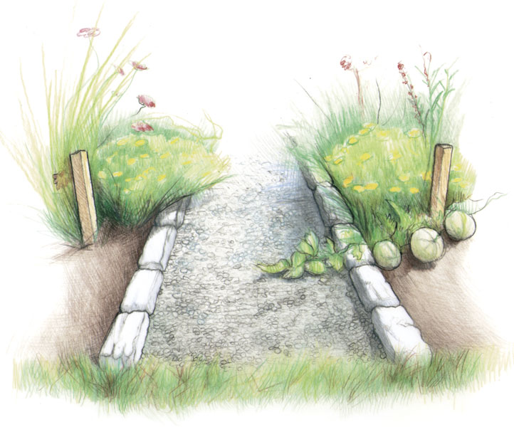 722x600 Build A Stone Edged Gravel Path
