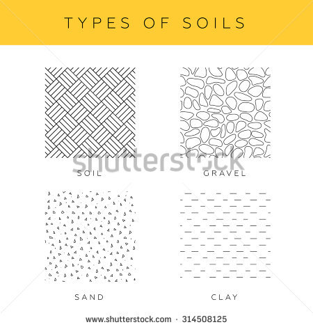 450x470 Types Of Soils, Vector Set. Collection Of Sand, Gravel And Clay