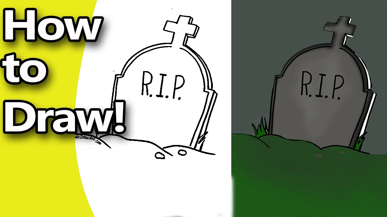 1280x720 How To Draw A Halloween Tombstone Step By Step With Free Coloring