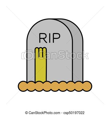 449x470 Zombie And Grave. Gravestone And Dead Man. Halloween Vector