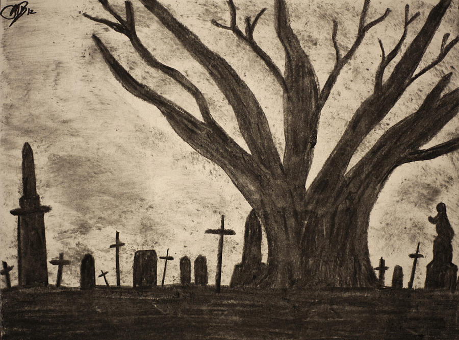 900x666 Graveyard By Gothic Old Tree Drawing By Mike M Burke