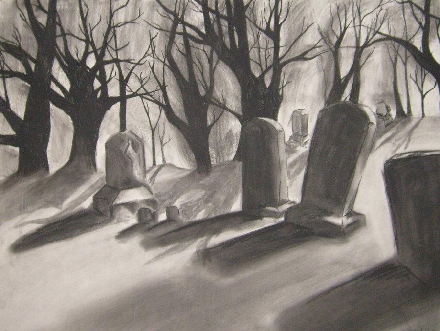 900x677 Graveyard Drawing By Y0ub3l0ng