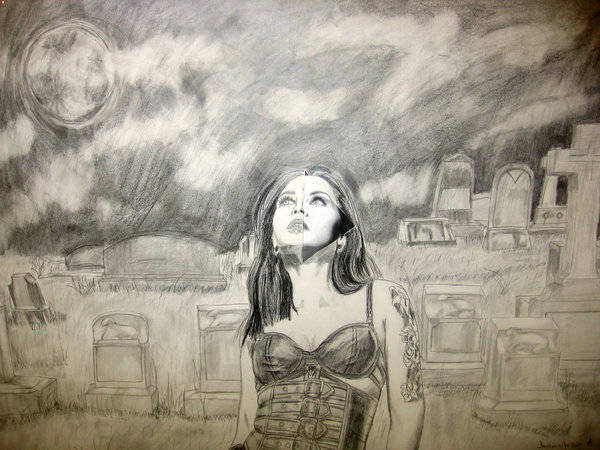 600x450 Graveyard Girl Drawing By Scarecrow3000