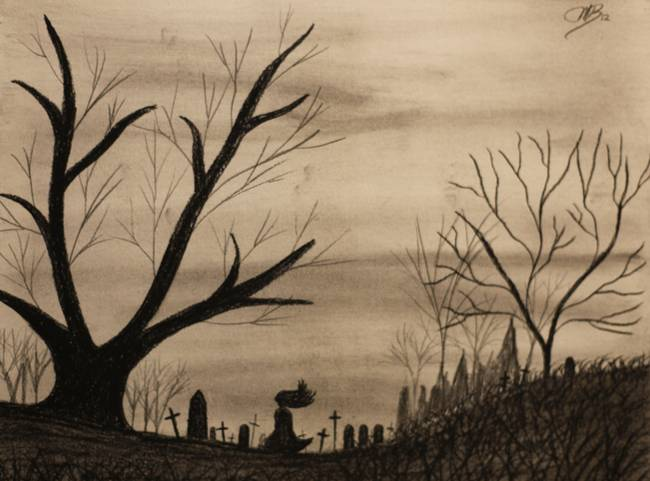 650x481 Mystery Woman In Graveyard By Mike M Burke