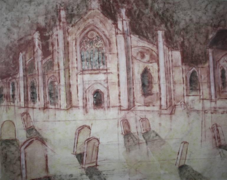 770x613 Saatchi Art Graveyard Drawing By Christiane Miklusz