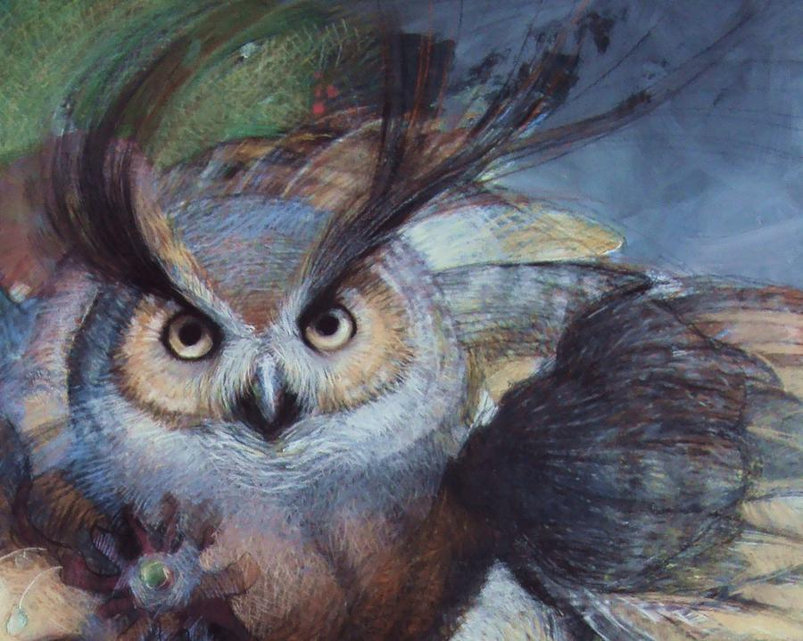 900x719 Great Horned Owl Drawing By Tonja Sell