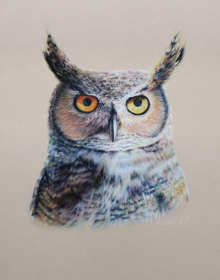 770x980 Saatchi Art Great Horned Owl Portrait Drawing By Vi Chu