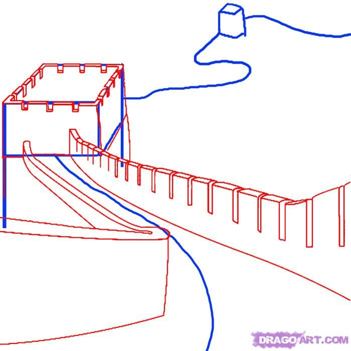 700x700 How To Draw The Great Wall Of China Step 2 Art Tutorial