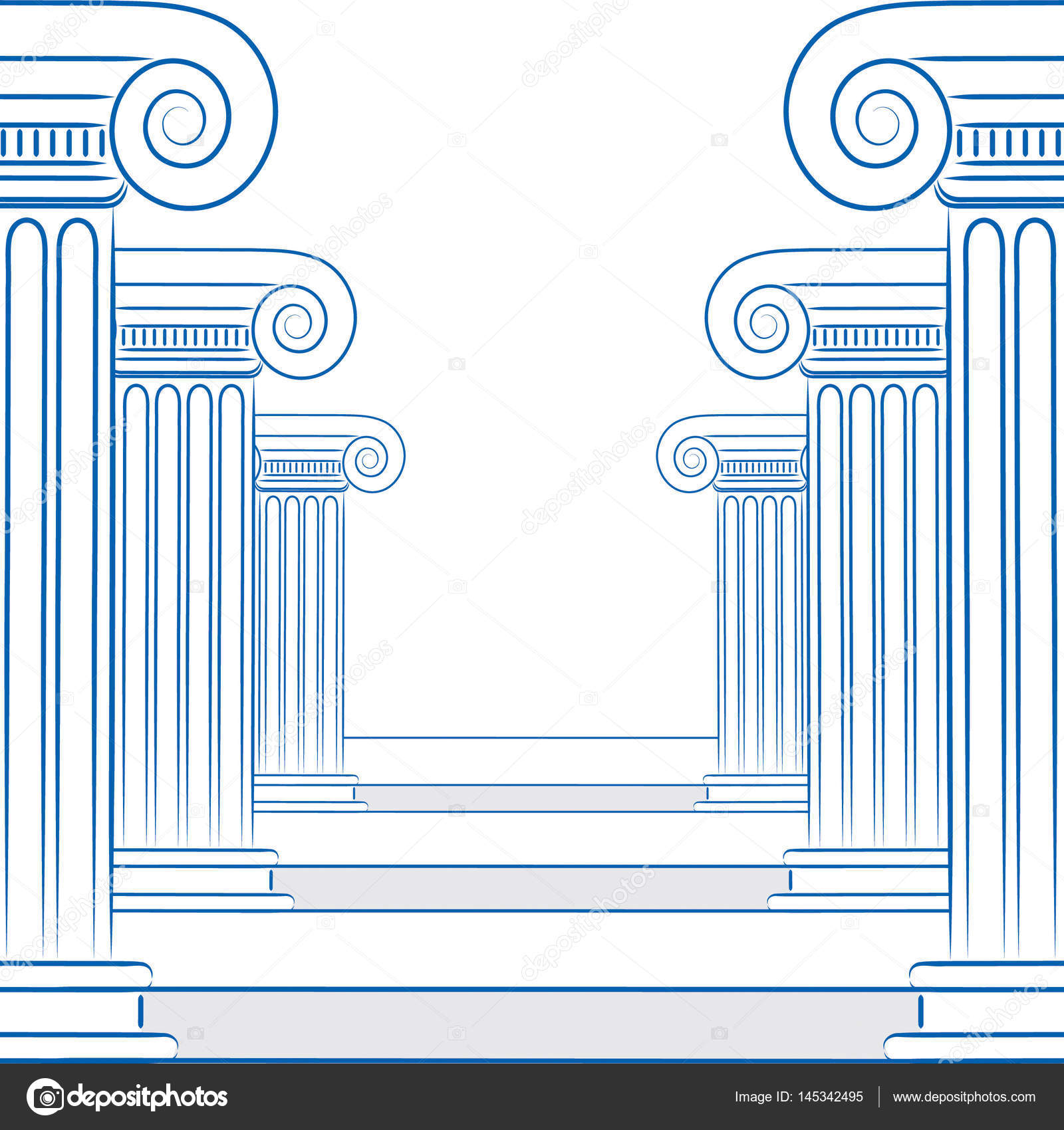 1600x1700 Abstract Line Drawing Of Greek Columns And Stairs In Vector Form