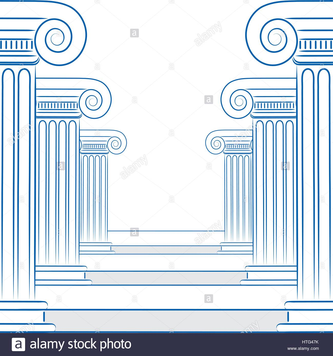 1300x1390 Abstract Line Drawing Of Greek Columns And Stairs In Vector Format