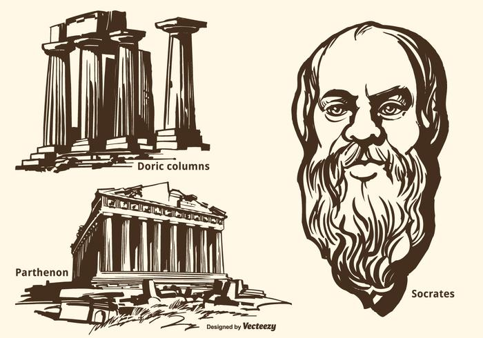 700x490 Ancient Greek Monuments And Socrates Vector Hand Drawn Set