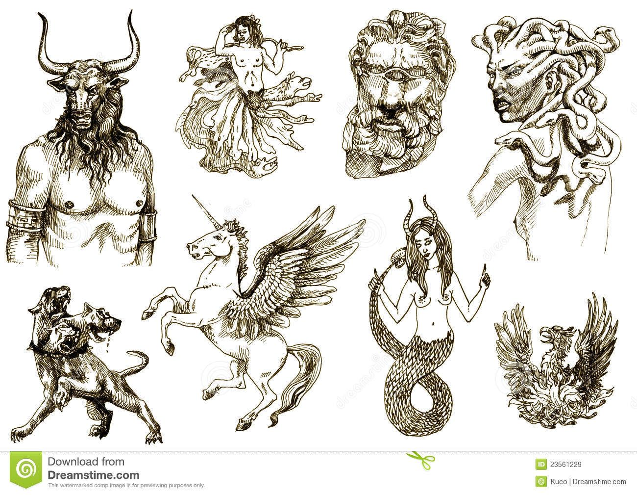1300x1009 All Greek Mythology Creatures Creatures On An Old Sheet
