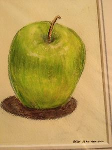 225x300 Colored Pencil Drawing Green Apple Still Life Fruit 8x10 Betty