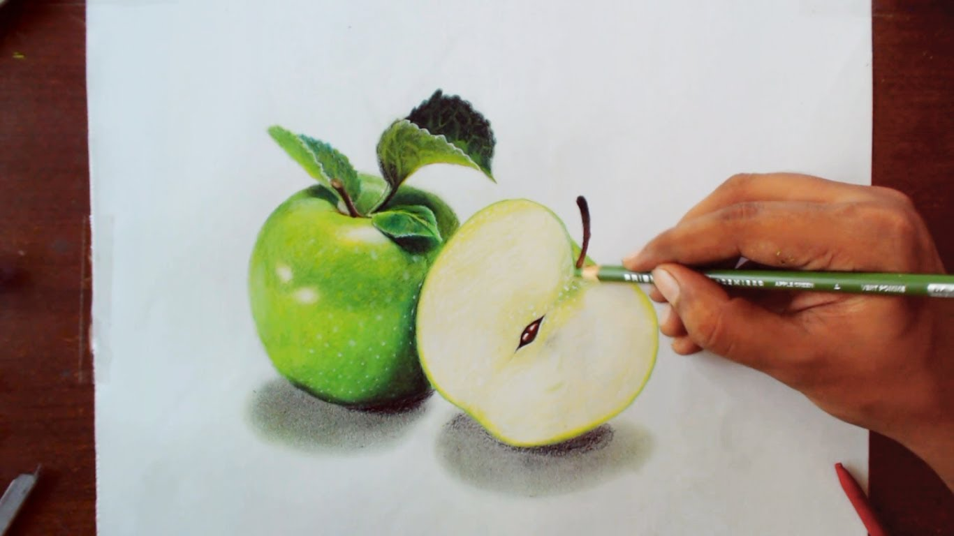 1366x768 Drawing Green Apples