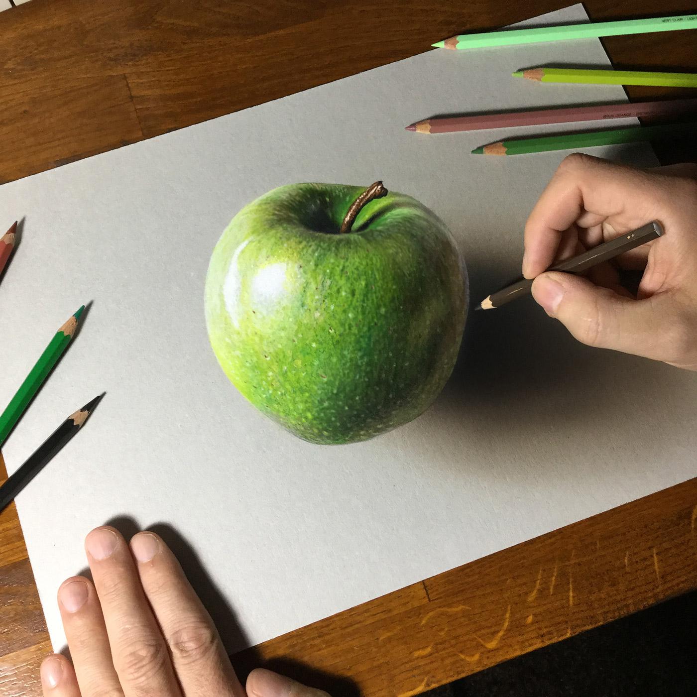 1400x1400 Green Apple Drawing On Behance