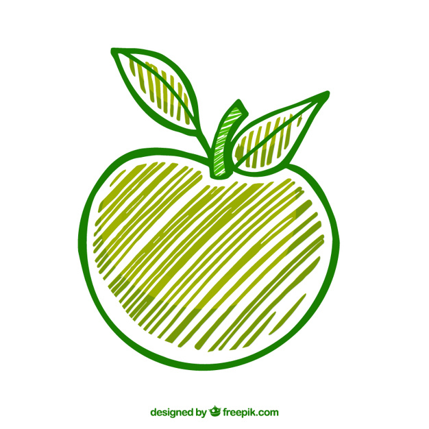 626x626 Hand Drawn Green Apple Vector Free Download