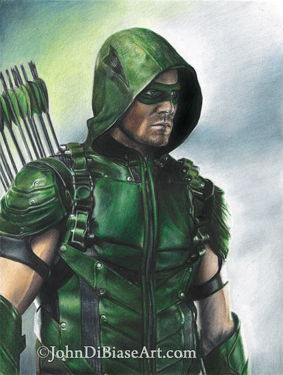 570x754 Full Color Drawing Print Of Stephen Amell As Green Arrow
