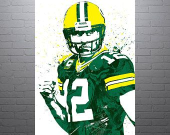 340x270 Aaron Rodgers Green Bay Packers Sports Art Print, Football Poster