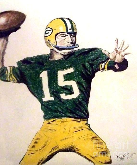 570x686 Bart Star Of The Green Bay Packers Drawing By Jim Fitzpatrick