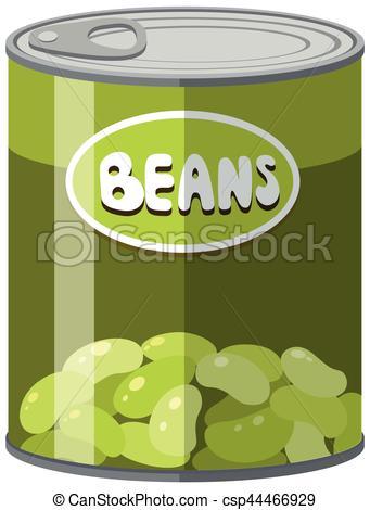 341x470 Green Beans In Aluminum Can Illustration Vector Illustration