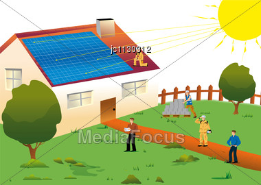 380x270 Stock Photo Solar House Located Meadow Environmentally Sustainable