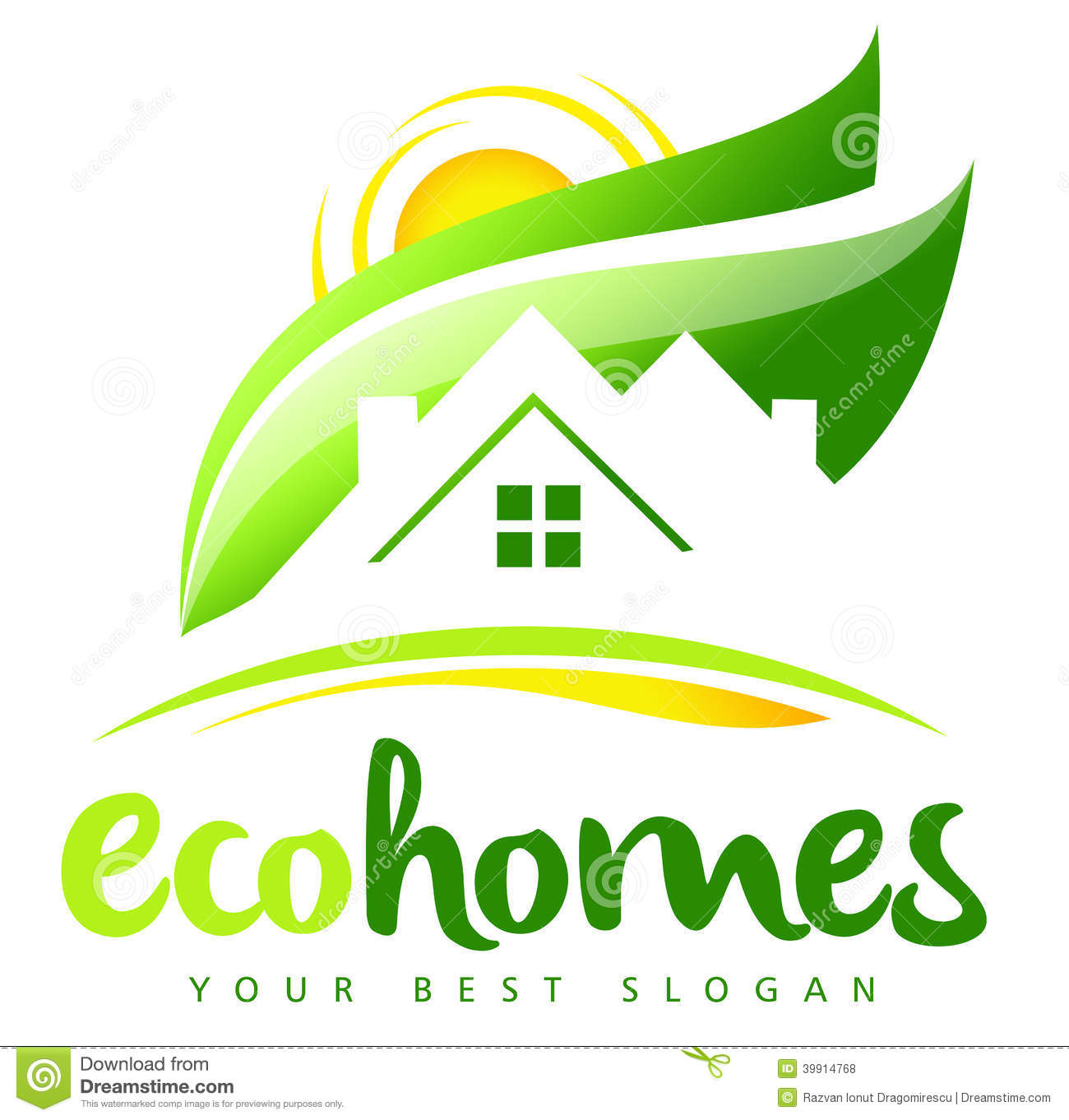 1300x1362 Eco House Real Estate Logo Illustration Drawing Representing
