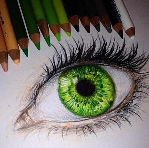 500x499 Drawing Geek (Via Expressyourself Draw) Eye Drawing, Green Eye