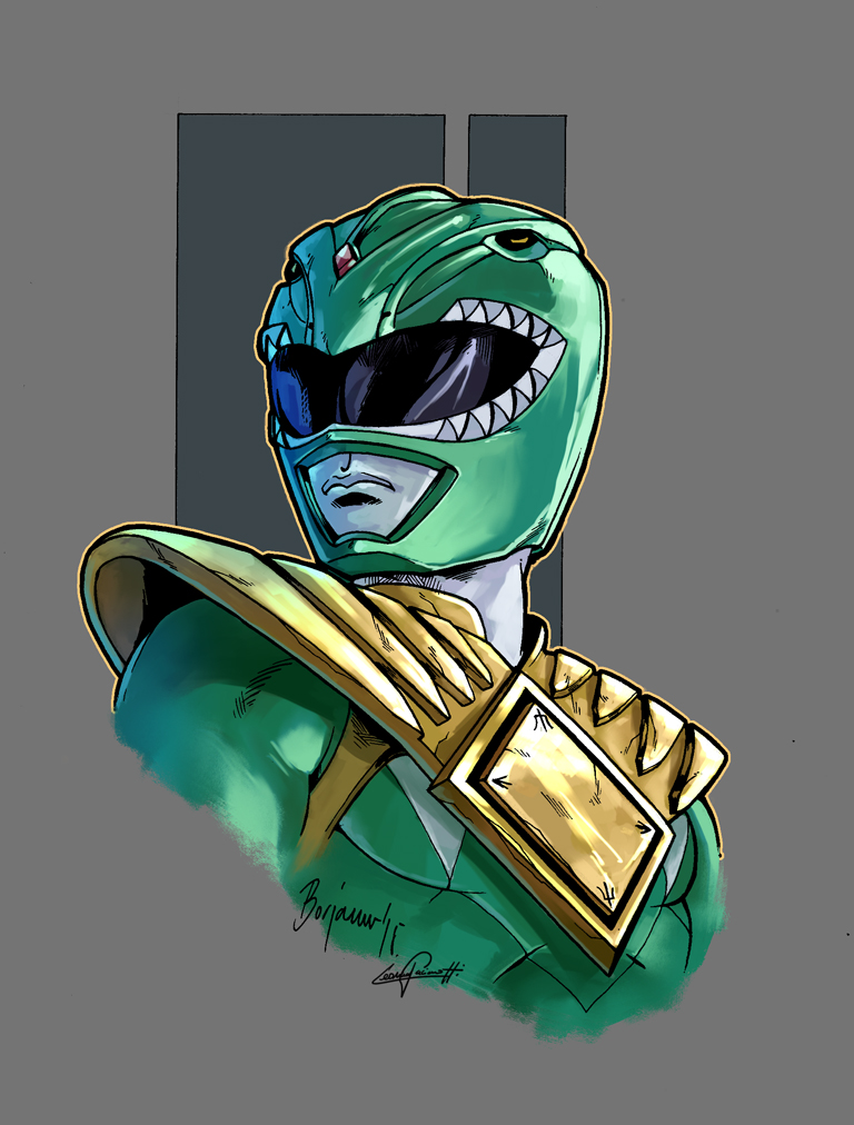 768x1012 Mighty Morphin Power Rangers Green Color By Le0arts