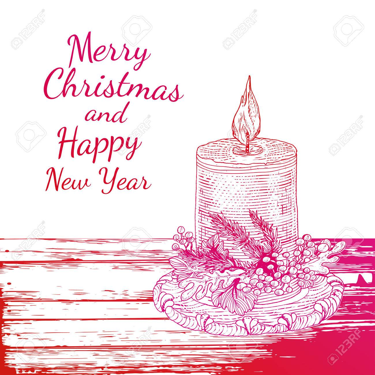 1300x1300 Bright Colorful Engraving Candle At Table With Christmas Greetings