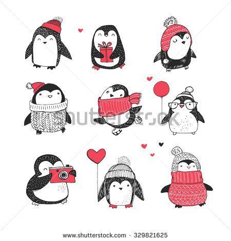 450x470 Cute Hand Drawn Penguins Set