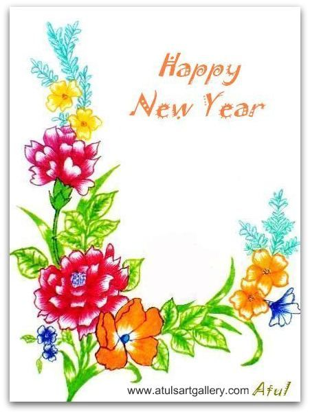 451x603 Greeting Card New Year Drawings Merry Christmas And Happy New