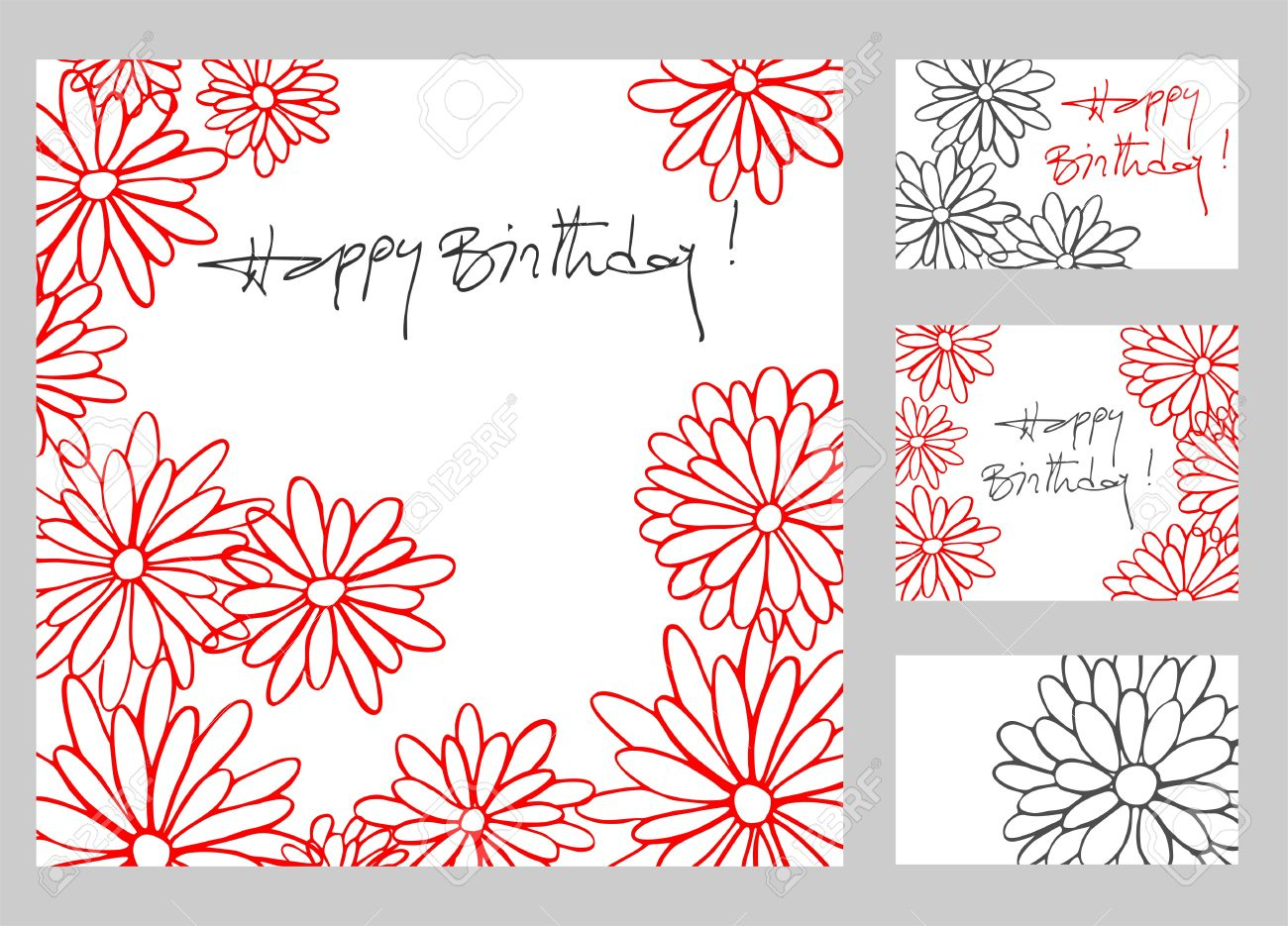 1300x935 Happy Birthday Greetings Cards Set With Hand Drawn Flowers Royalty