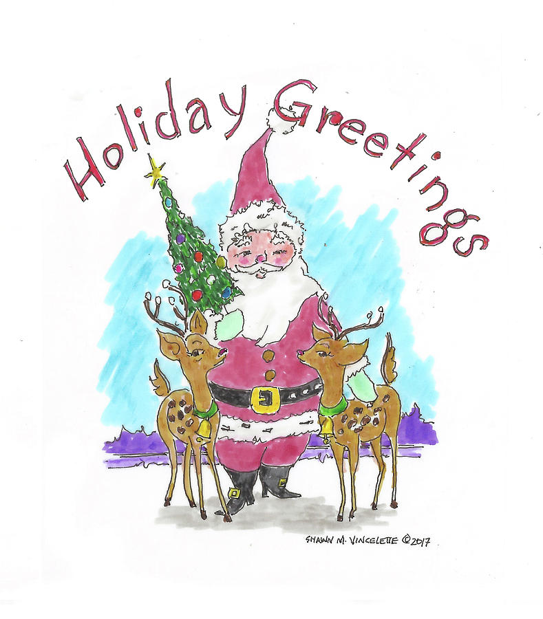 789x900 Holiday Greetings Drawing By Shawn Vincelette
