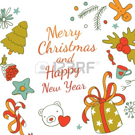 450x450 Vector Xmas Easy Drawing Card Design. Text Greetings. Fun Merry