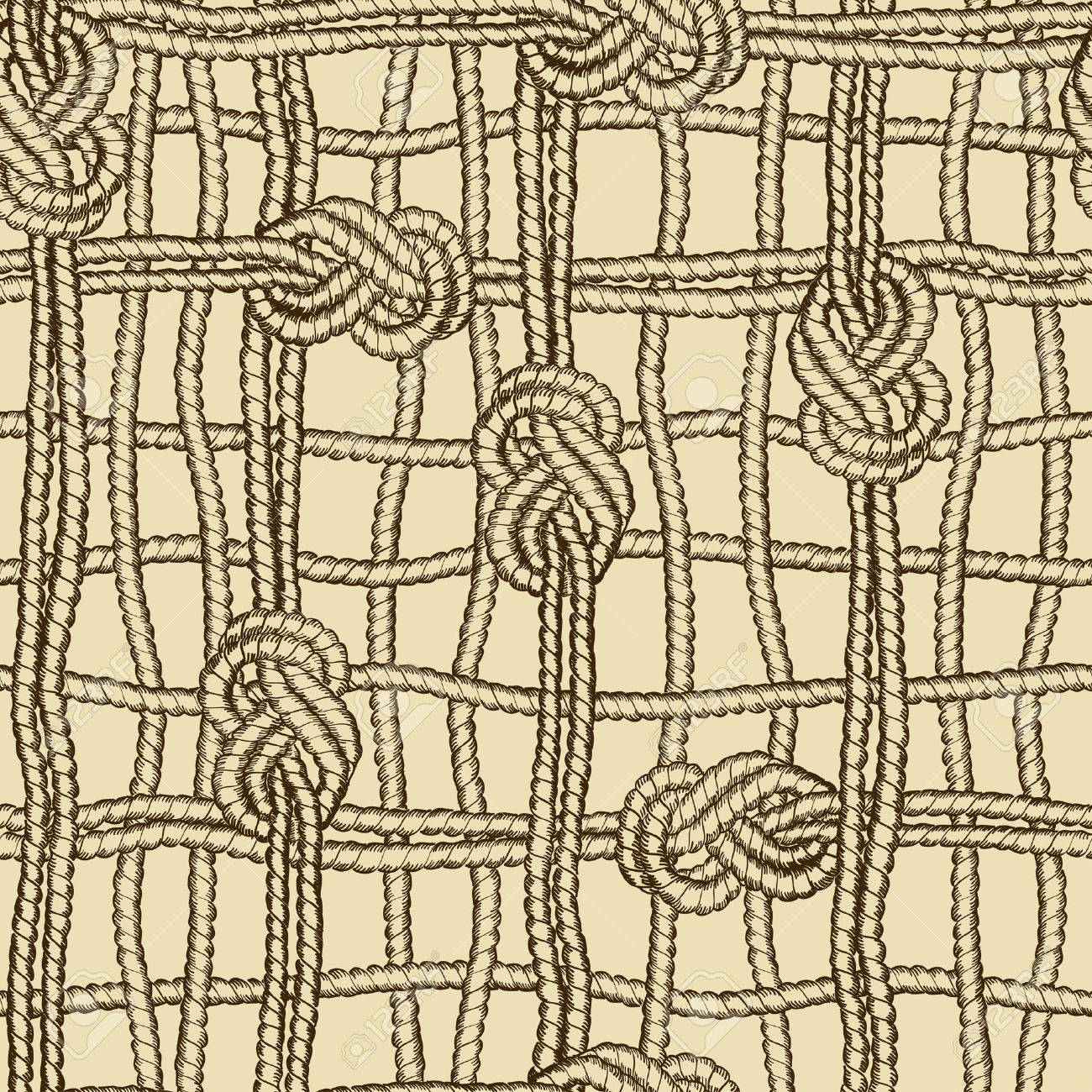 1300x1300 Hand Drawn Nautical Seamless Pattern Of Ropes Grid With Marine