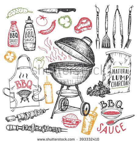 450x470 Barbecue Grill Hand Drawn Elements Set Isolated On White