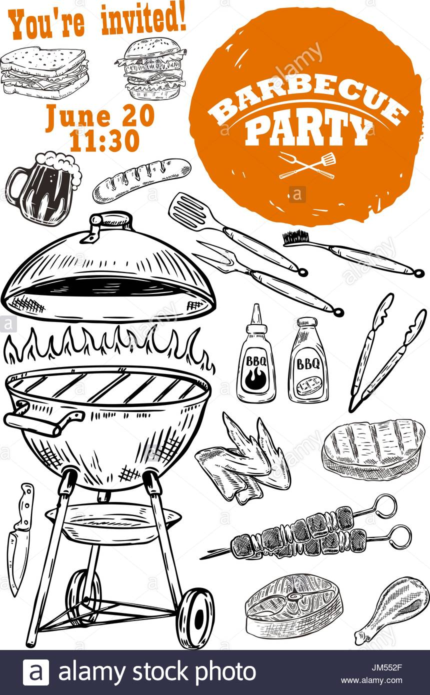 860x1390 Barbecue Party Invitation Template. Hand Drawn Bbq And Grill