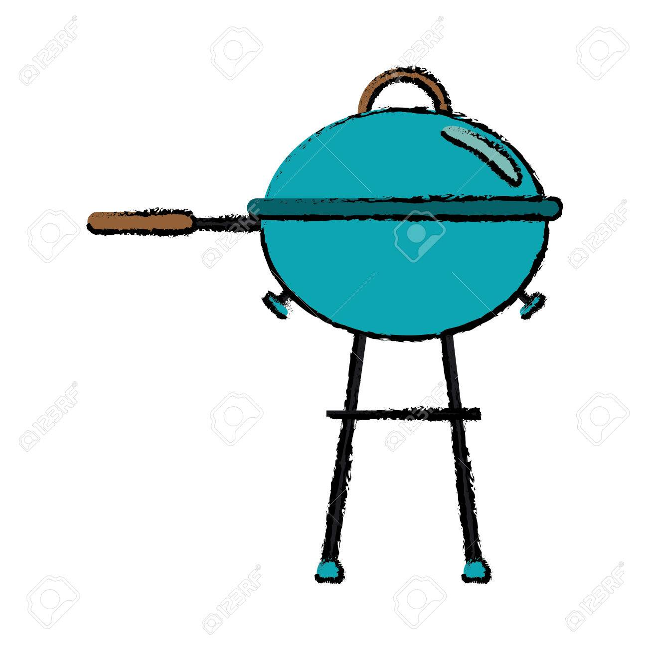 1300x1300 Drawing Grill Barbecue Kettle Food Camping Vector Illustration