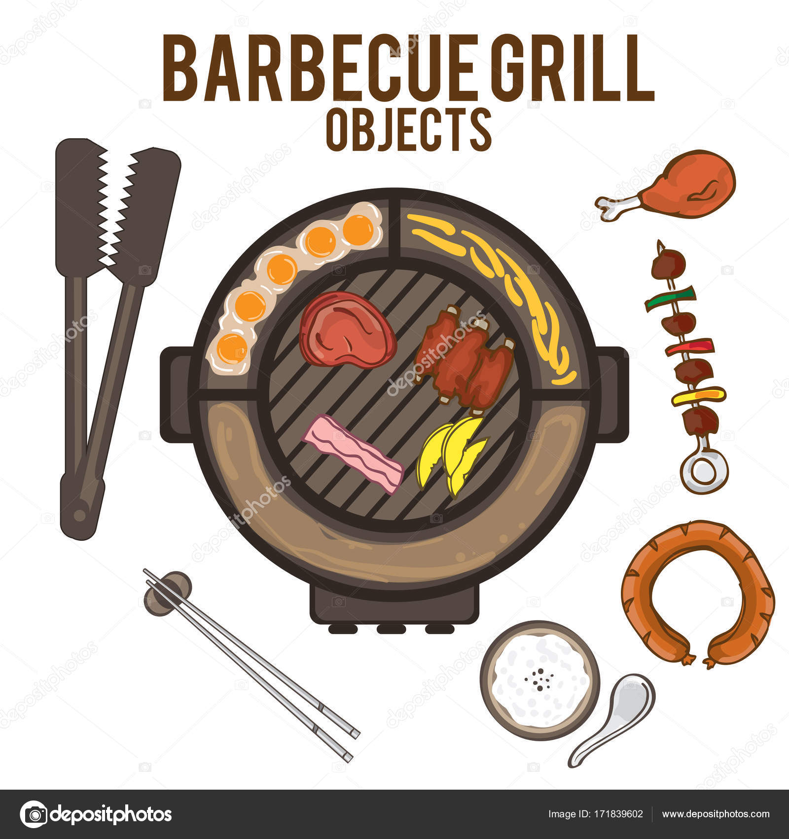 1600x1700 Barbecue Grill Hand Drawing Graphic Objects Food Stock Vector