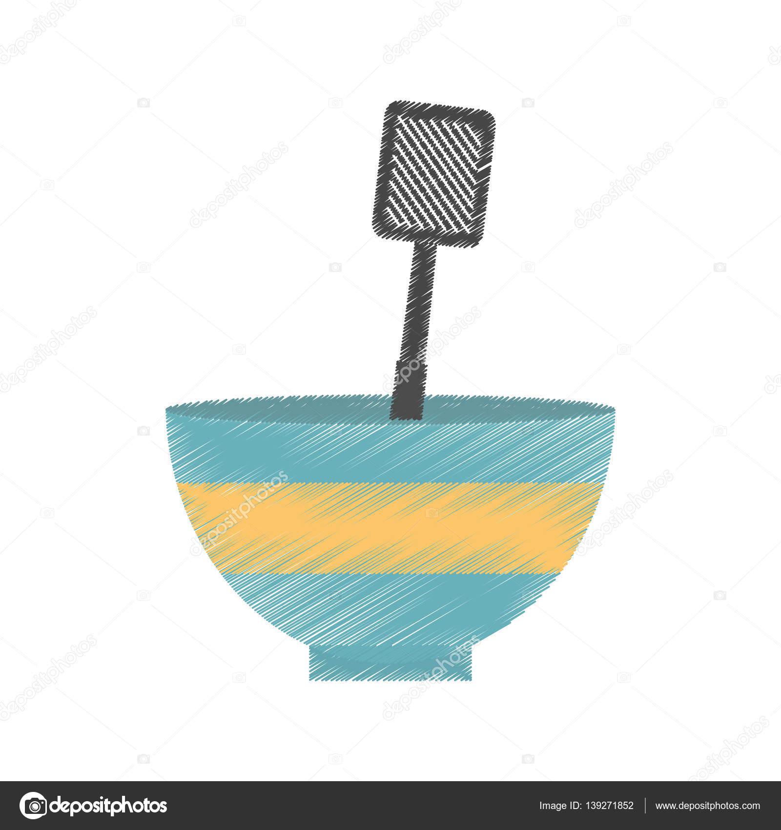 1600x1700 Drawing Bowl Spatula Grill Utensil Kitchen Stock Vector Djv