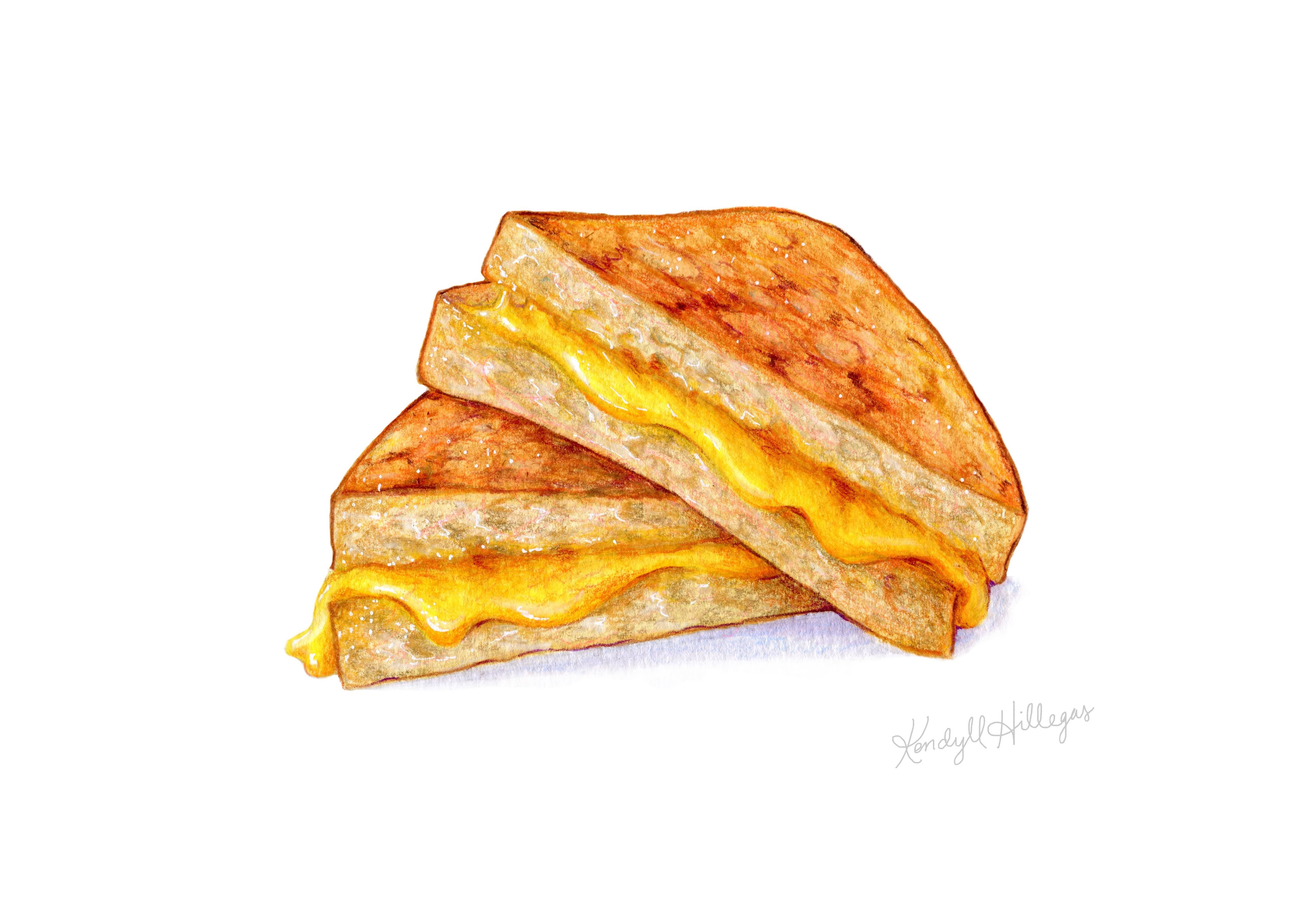 4096x2825 Food Illustration Speedpainting Of A Grilled Cheese