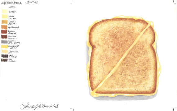 570x356 Grilled Cheese Sandwich Photo Realistic Art Illustration