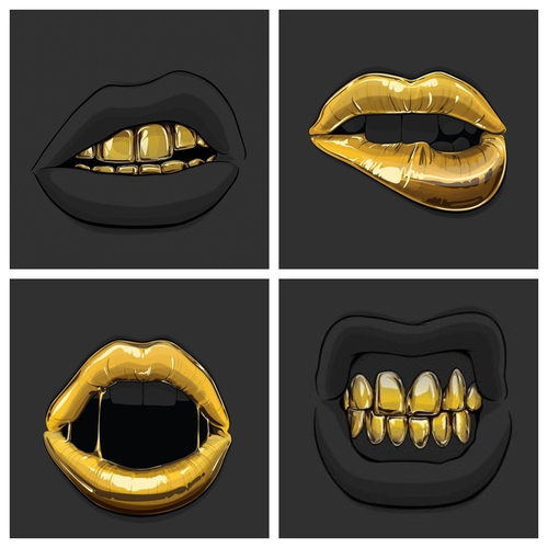 500x500 Gold Grill Amp Sexy Gold Lipz Home Art ! Gold